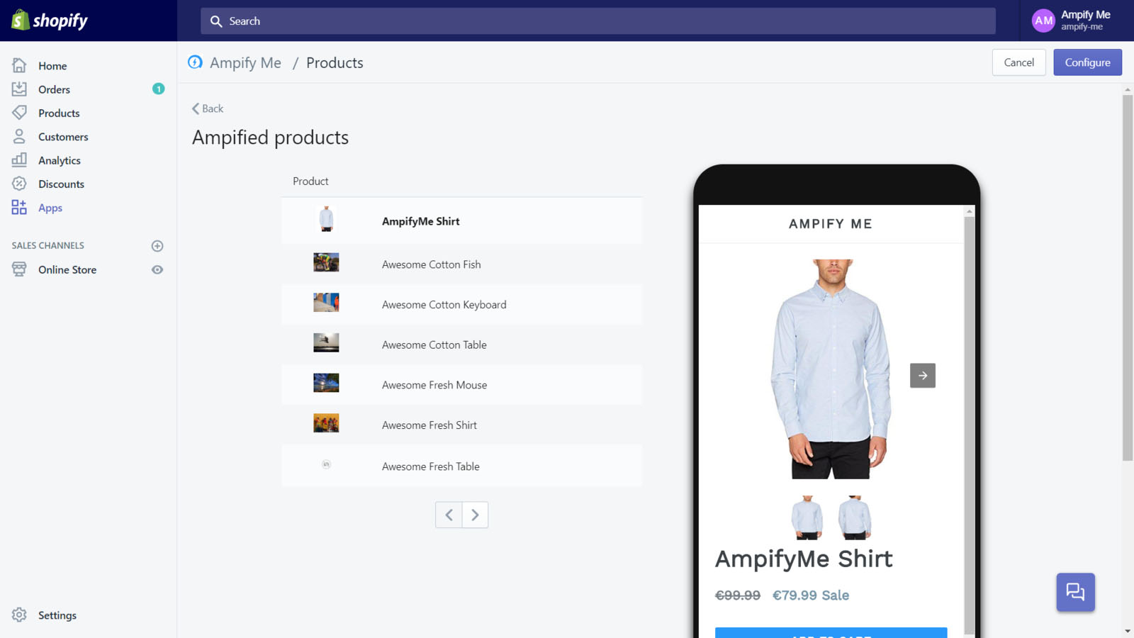 Leading Shopify AMP application - Preview of generated AMP pages